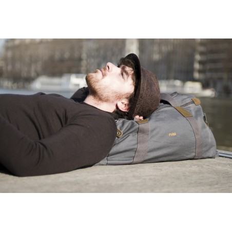 sac de voyage en toile de chanvre , coton bio et cuir