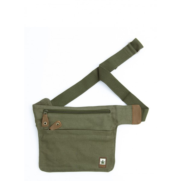 belt bag, flat banana, for travel in hemp and organic cotton