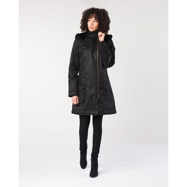 VEGAN PARKA LONG BLACK HOODLAMB